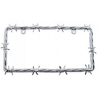 Chrome Barbwire Car Pickup Truck License Plate Tag Frame Holder / Ford Chevy