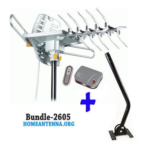 HD 2605 Outdoor Amplified Antenna With J Pole Remote 360 UHF VHF FM 150 Mile