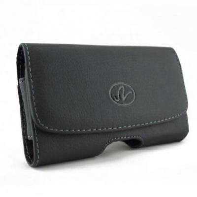 BLACK LEATHER PHONE CASE COVER POUCH BELT HOLSTER CLIP LOOPS