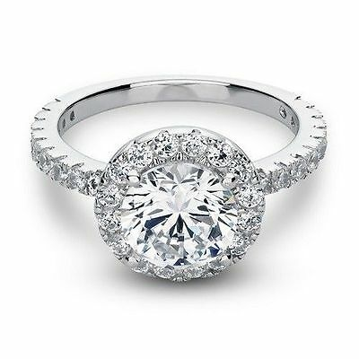 3.00 Ct Simulated Diamond Round Cut Halo Engagement Ring Solid 14K White Gold