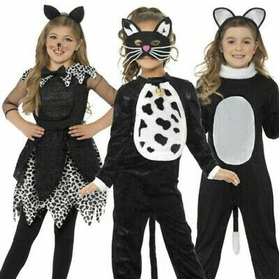 Mädchen Katzenkostüm Schwarze Katze Tabby Halloween Kostüm Katzen Outfit Kinder