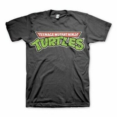 Teenage Mutant Ninja Turtles Logo Graues T-Shirt - Rundhals Unisex Retro TV ()