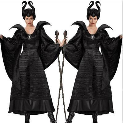 Maleficent Adult Costume (Maleficent Deluxe Evil Queen Cosplay Costume Halloween Outfit Fancy Dress)