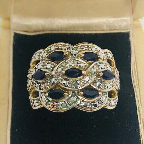 Beautiful Sterling Silver & 18k Gold Vermeil SAPPHIRE Ring Sz6.5 Vintage Jewelry