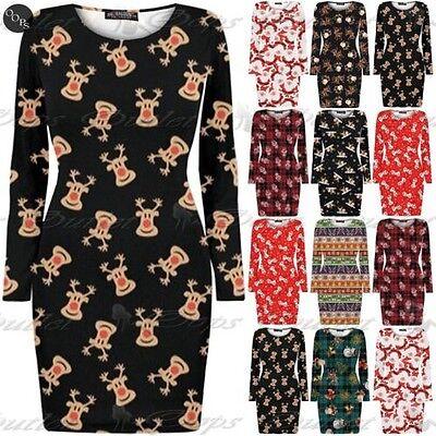 fdruck Mini Bodycon Damen Santa Weihnachtsbaum Glocken Kleid (Damen-santa Kleid)