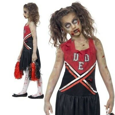Girls Zombie Cheerleader Costume Teen Cheerless Halloween School Girl S-L