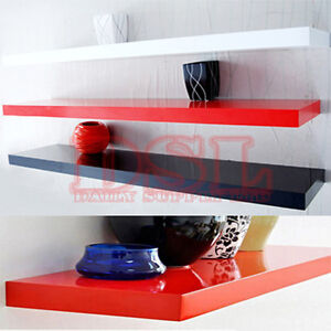 High-Gloss-Floating-Wall-Shelves-CD-BOOK-Display-40-50-60-70-80-90-100CM-SP