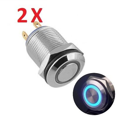12mm Blue Led Light Momentary Push Button Switch Stainless Waterproof No