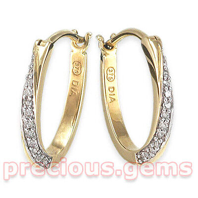 9ct Gold 0.10ct Diamond Twist Huggy Hoop Earrings ~  Under Half Price, Was £120!
