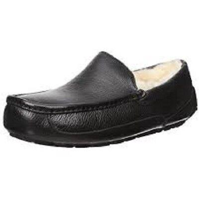 Men UGG leather Ascot Slipper 5379B Black Leather 100% Original Brand (Leather Ascot)