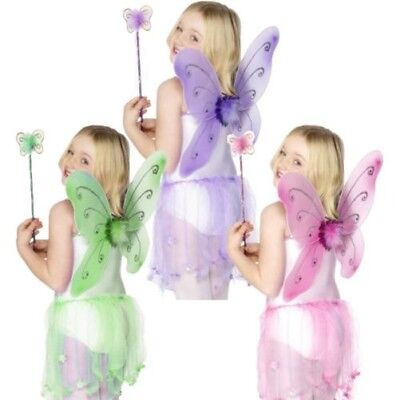 Kinder Fee Schmetterling Pixie Wings Zauberstab Kostüm Märchen Büchertag (Pixie Kostüm Kind)