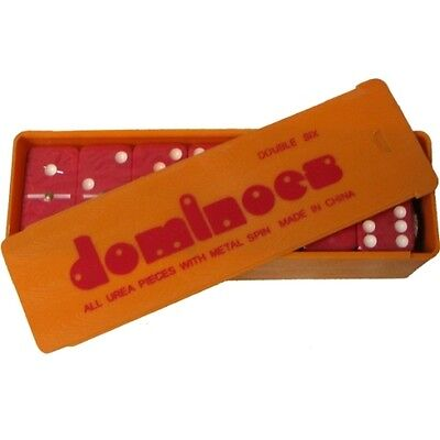 2 Sets Of Red Dominoes Game 28 Double Six Domino In Plastic Case