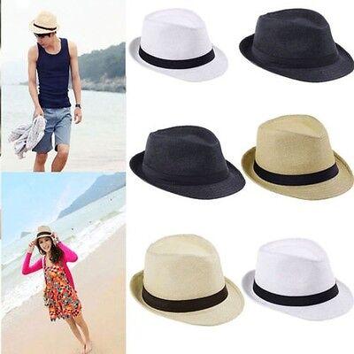 UOMO DONNA cappello panama fedora largo con falda di feltro Paglia da sole