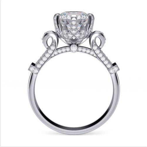 Lovely 1.70 Ct Round Cut Diamond Cinderella Engagement Ring Pave F,VS2 GIA 18K  1
