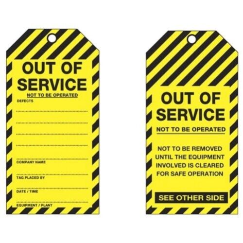 Lockout Tagout OUT OF SERVICE Cardboard Tag LOTO Tags (PACK OF 25)