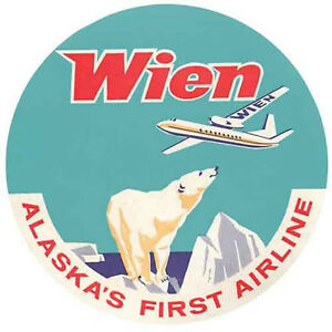 Wien Airline Alaska  Vintage style  1950's Travel Decal Sticker Luggage Label