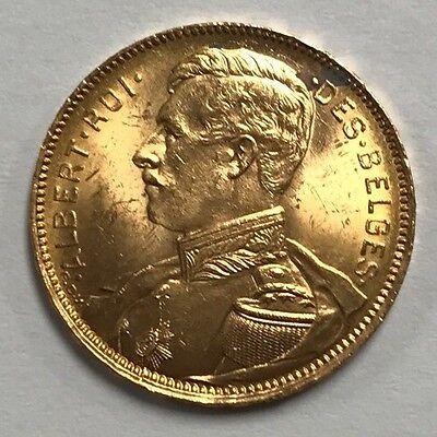 1914 Belgium Albert I 20 Francs Gold Coin! Beautiful Luster! 0302b