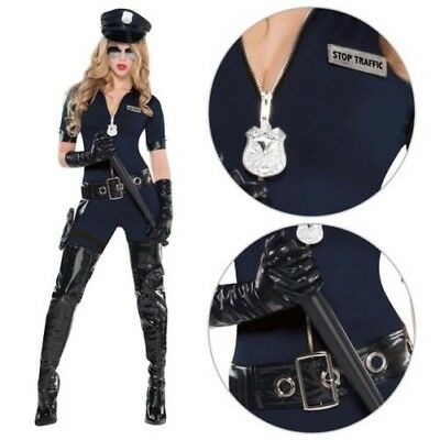 Damen Polizei Polizist Halloween Kostüm Sexy Outfit Offizier Catsuit Größe ()
