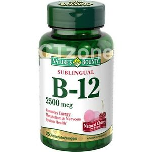 250 Nature's Bounty B-12 Sublingual Vitamin Natural Cherry Flavor 2500 mcg 250ct