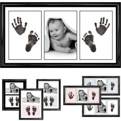 Neu Baby Jungen Mädchen Geschenk Tintenlose Hand und Fußabdrücke Set Rahmen