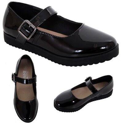 Mädchen Kinder Patent Mary Jane Schnalle Schulanfang Smart Grob Gestrickt Schuhe ()