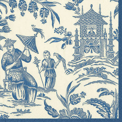 Blue Silk road toile Caspari new luxury paper table napkins 20 in pack