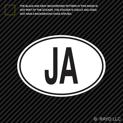 JA Jamaica Country Code Oval Sticker Decal Self Adhesive Jamaican -