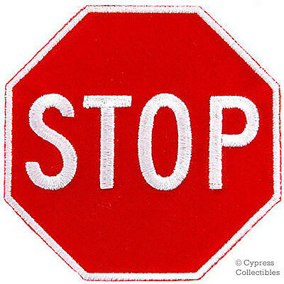 STOP SIGN embroidered PATCH TRAFFIC STREET ROAD SIGN iron-on applique red NEW