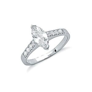 solid 925 sterling silver marquise cut engagement or dress