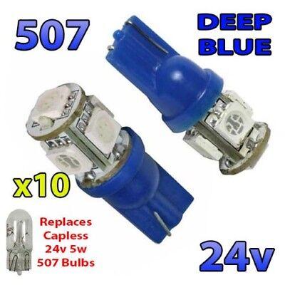 10 X Azul 24v sin Tapa Luz Lateral 507 501 W5W 5...