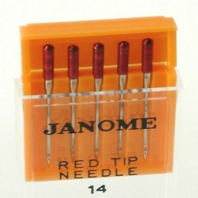 Janome Sewing Machine Red Tip Embroidery Needle 5 Count Pack