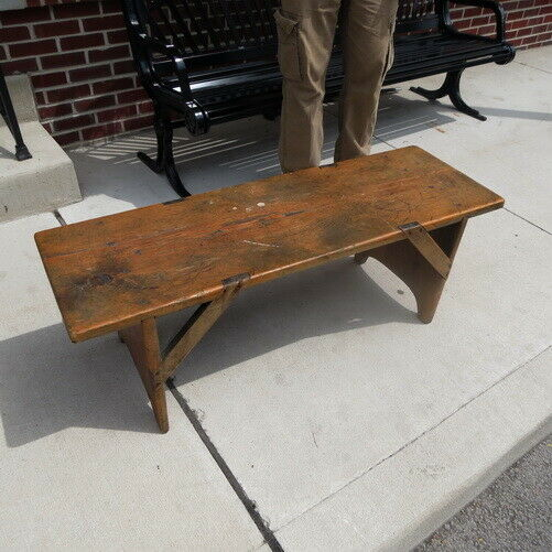 1890 1910? handmade wooden single plank wooden bench folk art furniture/ Indiana