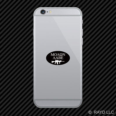 Oval Molon Labe Cell Phone Sticker Mobile Die Cut NRA 2A