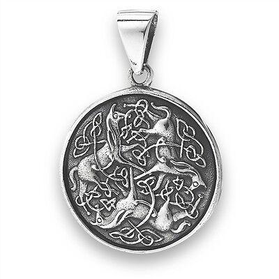 925 Sterling Silver EPONA HORSE Equine Goddess Pendant Celtic Knot Work