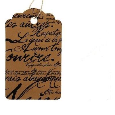 """100 Tags Price Sale Brown Black Paris Script Merchandise 3 ¼ x 2"""" Strung Large"""