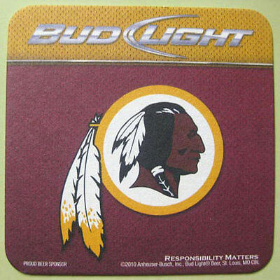BUD LIGHT WASHINGTON REDSKINS 2010 Schedule Beer COASTER Mat, MISSOURI, Football