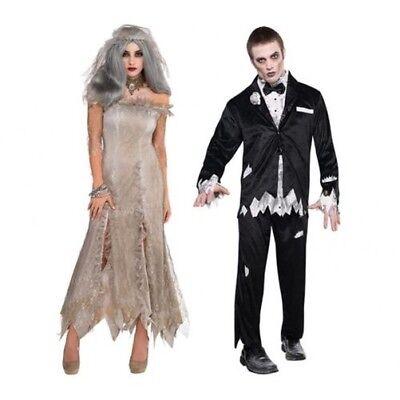 Herren Damen Zombie Toter Braut Bräutigam Paar Kostüm Halloween Kostüm