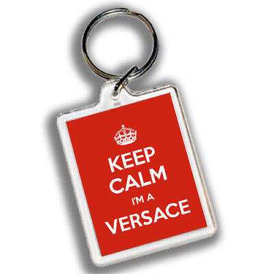 KEEP CALM I'M A VERSACE Keyring 45mm x 35mm | Red Carry on design