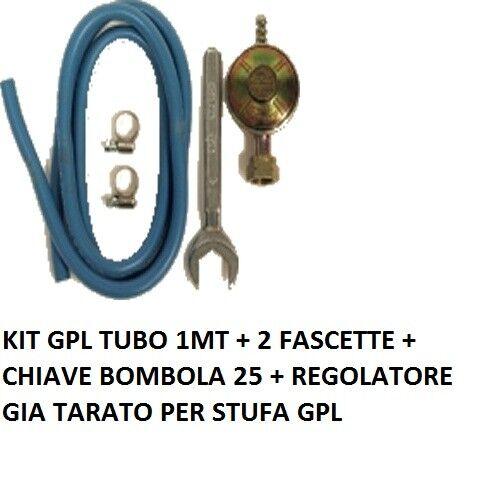 REGOLATORE BASSA PRESSIONE CUCINE STUFE BARBECUE GAS + 1M DI TUBO + 2 FASC+CHIAV