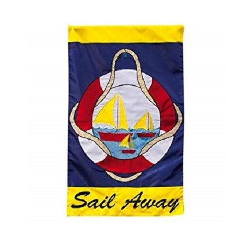 EVERGREEN 167806 SAIL AWAY APPLIQUE  GARDEN FLAG 12 X 18 INC