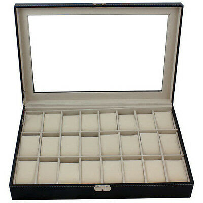 Large Black Leather 24 Grid Watch Display Case Glass Top Jewelry Box Organizer