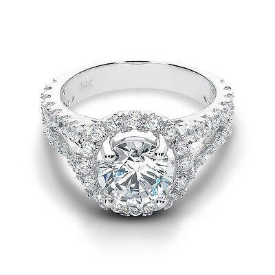3.55 Ct Brilliant Round Split Shank Lab Engagement Ring Solid 14K White Gold
