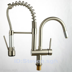 Commercial Kitchen Faucets With Sprayer : Commercial-Kitchen-Tap-Sink-Faucet-Pull-Down-Spray-Spout-Brushed ...