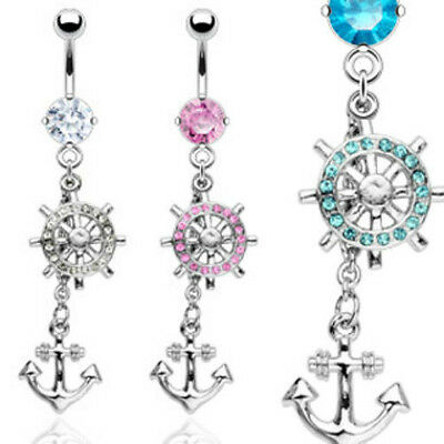 B#218 - 3pcs Anchor & Wheel Gem Belly Rings Navel naval