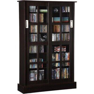 Media Storage Cabinet Sliding Glass Doors Large 576 CDs 192 DVDs Espresso Rack Atlantic Glass Storage Cabinet