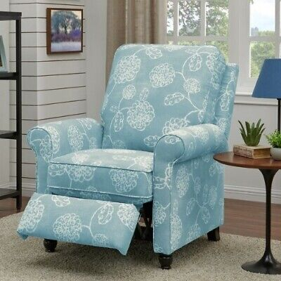 Light Blue Floral Manual Pushback Armchair Recliner Arm Chai