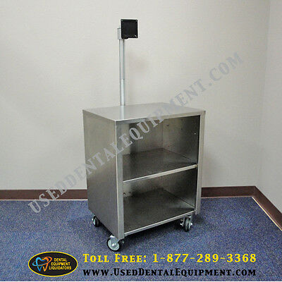 Medical Cart Mobile Stainless Steel Cart With Aluminum Post Mount Monitor Mount