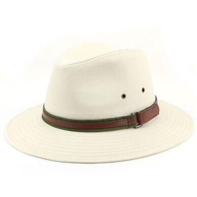 Fedora Hut Baumwolle Hawkins Breite Krempe Band Beige Weiß 4 Größen Filzhut Weißer Filz Fedora