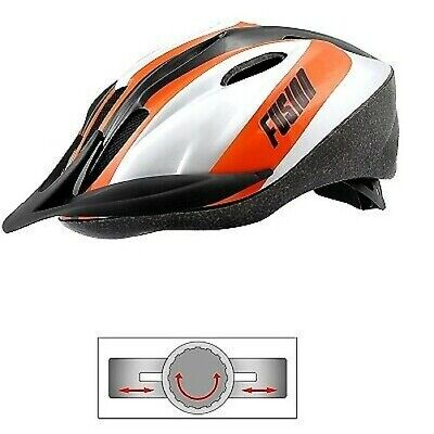 V690020D _ Casco Bicicleta / Ciclo Fusion Adulto MTB Plata/Naranja / Negro