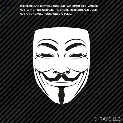 """GUY FAWKES PIRATE MASK 4.75/""""X5.25/"""" Vinyl Die Cut Decal Sticker Anonymous Window"""